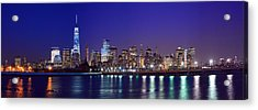 Blue Hour Panorama New York World Trade Center With Freedom Tower From Liberty State Park Acrylic Print