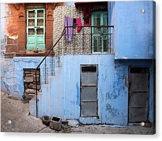 Acrylic Print featuring the photograph Blue House Front Entrance by Michalakis Ppalis