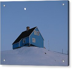 Blue House With Moon Acrylic Print by Sidsel Genee