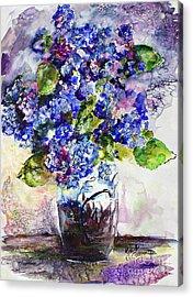 Blue Hydrangeas In Art Glass Vase Still Life Acrylic Print