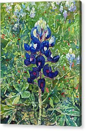 Acrylic Print featuring the painting Blue In Bloom 2 by Hailey E Herrera
