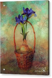 Acrylic Print featuring the digital art Blue Iris In A Basket by Lois Bryan