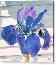 Acrylic Print featuring the painting Blue Iris by LeAnne Sowa