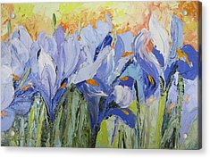 Blue Irises Palette Knife Painting Acrylic Print