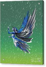 Acrylic Print featuring the digital art Blue Jay Fairy by Stanley Morrison