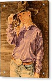 Blue Jean Cowgirl Acrylic Print