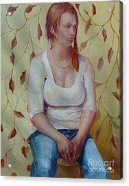 Blue Jeans Girl              Copyrighted Acrylic Print by Kathleen Hoekstra