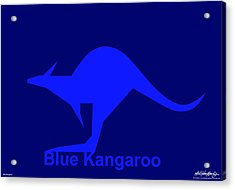 Blue Kangaroo Acrylic Print by Asbjorn Lonvig