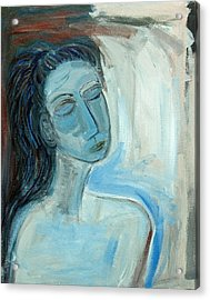Blue Lady Abstract Acrylic Print by Maggis Art