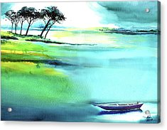 Acrylic Print featuring the painting Blue Lagoon by Anil Nene