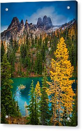 Blue Lake And Early Winter Spires Acrylic Print by Inge Johnsson