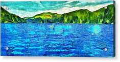 Blue Lake Green Land Acrylic Print by Dan Sproul