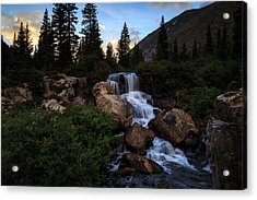 Blue Lakes Waterfall And Quandary Peak Acrylic Print