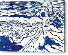 Blue Line Landscape Acrylic Print