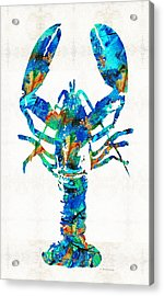 Blue Lobster Art By Sharon Cummings Acrylic Print by Sharon Cummings