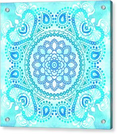 Acrylic Print featuring the painting Blue Lotus Mandala by Tammy Wetzel
