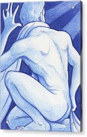 Blue Man Study Acrylic Print by Amy S Turner