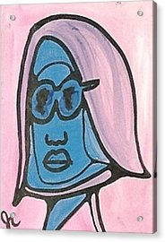 Blue Man With Glasses Acrylic Print by Jimmy King