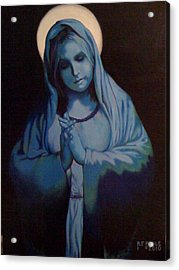 Blue Mary Acrylic Print by Rebecca Poole