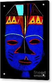 Blue Mask Acrylic Print by Angela L Walker