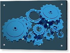 Blue Mechanical Parts Acrylic Print