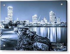 Blue Milwaukee Skyline At Night Picture Acrylic Print by Paul Velgos