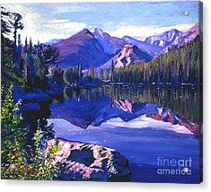 Blue Mirror Lake Acrylic Print by David Lloyd Glover