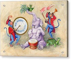 Blue Monkeys Circus Acrylic Print by Lora Serra