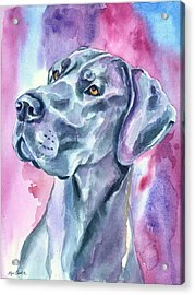 Blue Mood - Great Dane Acrylic Print by Lyn Cook