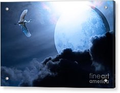 Blue Moon - 7d12372 Acrylic Print by Wingsdomain Art and Photography