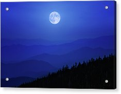 Blue Moon Over Smoky Mountains Acrylic Print
