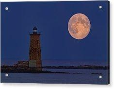 Blue Moon Over Whaleback Lighthouse Acrylic Print