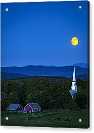 Blue Moon Rising Over Church Steeple Acrylic Print