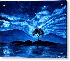 Blue Moon Acrylic Print by Wahleyah Black