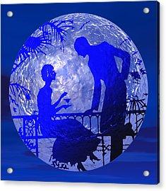 Blue Moonlight Lovers Acrylic Print