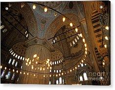 Blue Mosque Interior Acrylic Print by Sami Sarkis