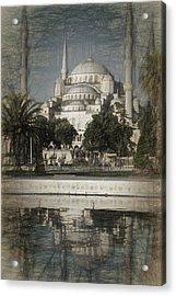 Blue Mosque - Vintage Blue Sketch Acrylic Print
