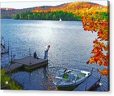 Blue Mountain Lake 12 - Tourists On Dock Acrylic Print by Steve Ohlsen