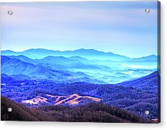 Blue Mountain Mist Acrylic Print by Dale R Carlson