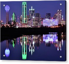 Acrylic Print featuring the photograph Blue Night And Reflections In Dallas by Frozen in Time Fine Art Photography