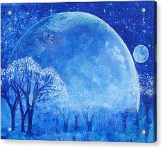 Blue Night Moon Acrylic Print by Ashleigh Dyan Bayer