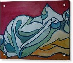 Blue Nude Acrylic Print by Aleksandra Buha