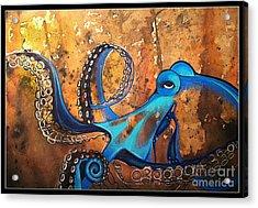 Blue Octopus Acrylic Print by Elizabeth Dixon
