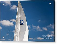 Blue Omega Sign Mast Detail Acrylic Print