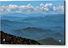 Blue On Blue - Great Smoky Mountains Acrylic Print