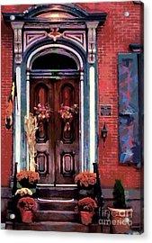 Blue On Brick - Jim Thorpe Autumn Door Acrylic Print by Janine Riley