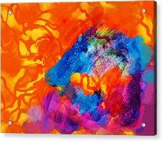 Acrylic Print featuring the digital art Blue On Orange by Antonio Romero