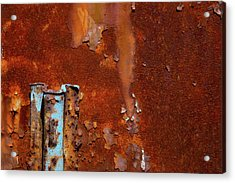 Acrylic Print featuring the photograph Blue On Rust by Karol Livote