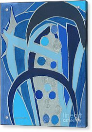 Acrylic Print featuring the painting Blue On Silver by Ania M Milo