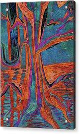 Blue-orange Warm Dusk River Tree Acrylic Print
